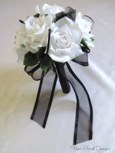 Black Satin and Organza Loops in Silk Rose Round Bouquet