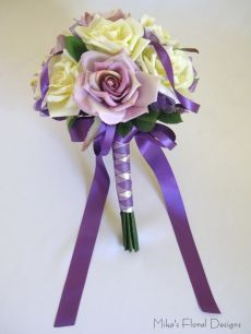 Purple Satin and Organza Loops in Silk Rose Round Bouquet