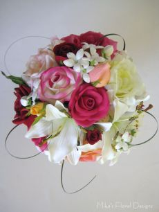Mixed Roses, Lily and Stephanotis Round Bouquet in Garden Style
