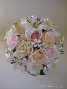 Bridal Bouquet of Artificial Mixed Flowers and Stephanotis with Swarovski Gold Beads