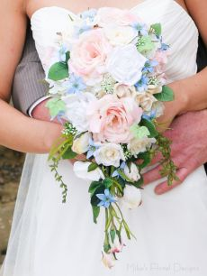 Mixed Silk Roses and Blue Flowers Bridal Teardrop Bouquet