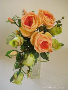 Bridal Crescent Bouquet of Apricot Cabbage Rose and Green bud