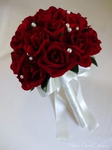 Bridal Round Bouquet of Semi Open Rose and Bud with Glass Pearl Beads