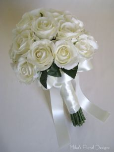 Real Touch Semi Open Rose Round Bridal Bouquet