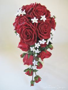 Artificial Real Touch Red Rose and Stephanotis Bridal Trailing Bouquet