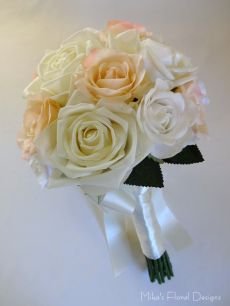 Real Touch Mixed Roses Bridal Round Bouquet