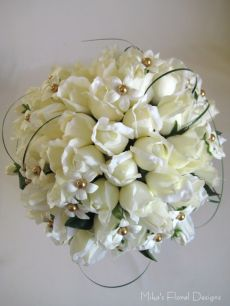 Real Touch Rose Bud and Stephanotis Round Bouquet (with Swarovski Crystal Pearls)