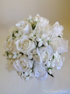 Real Touch Rose Bud and Stephanotis Bridal Round Bouquet