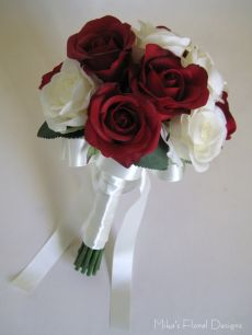 Real Touch Semi Open Rose Round Bouquet for Bridesmaids