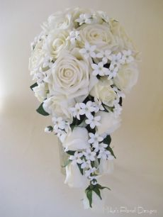 Real Touch Rose and Stephanotis Bridal Trailing Bouquet