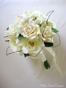 Bridal Round Bouquet of Artificial Roses with Dodder Vine