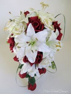 Teardrop Bouquet of Mixed Real Touch and Silk Lilies with Roses