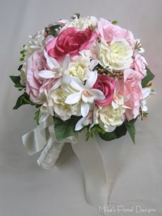 Mixed Silk Roses and Artificial Mini Orchid Round Bouquet