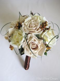 Silk Rose with Berry Bridal Round Bouquet