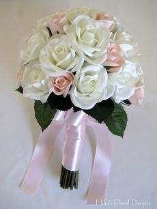 Silk Rose Round Bouquet (Open Bloom and Bud)