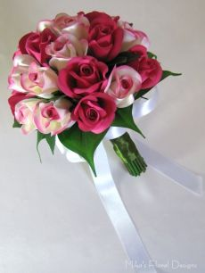 Silk Fuschia and White Rose Bud Round Bouquet