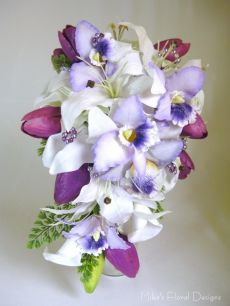 Large Soft Feel Tulip in Lily, Orchid and Calla Lily Teardrop Bouquet
