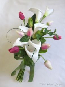Mini Soft Feel Tulip in Foam Calla Lily Arm Sheaf Bouquet