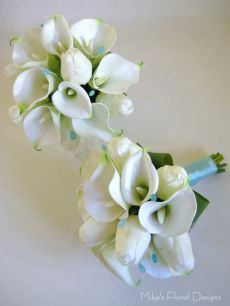 Round Bouquet of Real Touch Tulip and Calla Lily with Turquoise Coloured Beads (for Bridesmaids)